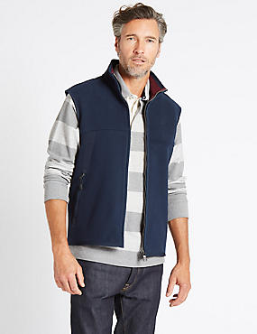 Textured Zipped Through Gilet, NAVY, catlanding