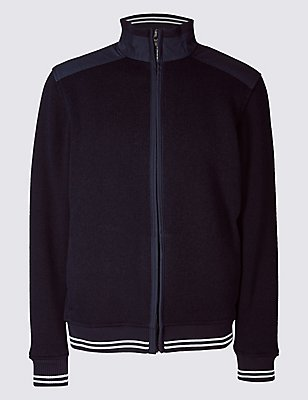 Zipped Through Fleece Top, NAVY, catlanding