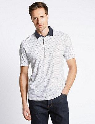 Pure Cotton Slim Fit Geometric Print Polo Shirt, NAVY MIX, catlanding