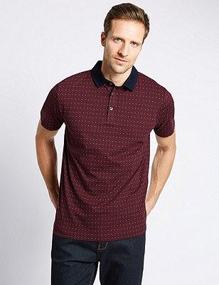 Pure Cotton Slim Fit Geometric Print Polo Shirt, BURGUNDY MIX, catlanding