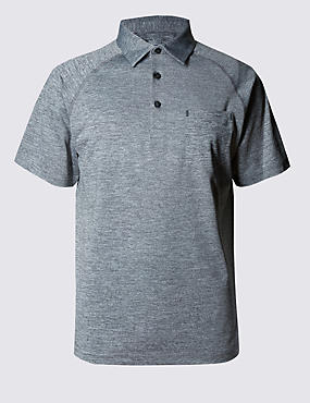 Performance Polo Shirt with Stretch Comfort & Moisture Wicking Fabric