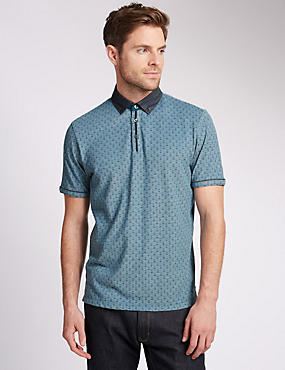 Pure Cotton Tailored Fit Floral Polo Shirt