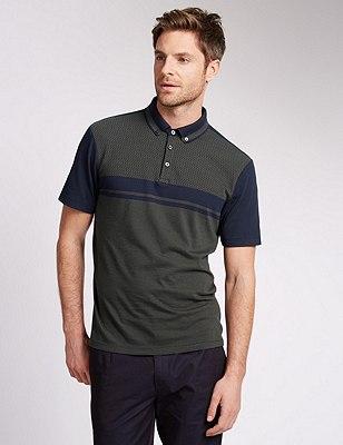 Pure Cotton Tailored Fit Jacquard Polo Shirt, KHAKI, catlanding