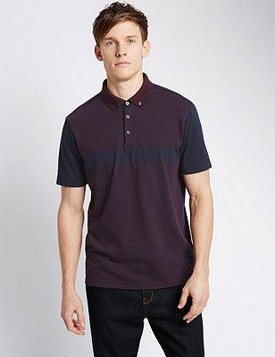 Pure Cotton Tailored Fit Jacquard Polo Shirt, BURGUNDY, catlanding