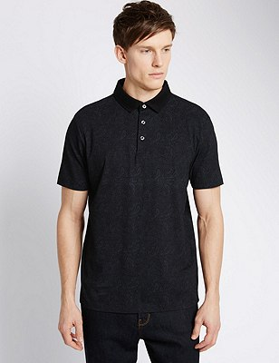 Pure Cotton Tailored Fit Paisley Print Polo Shirt, BLACK, catlanding