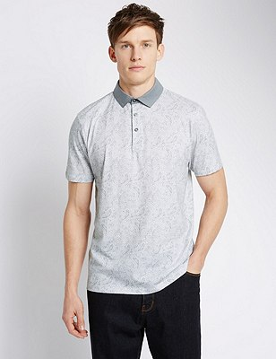 Pure Cotton Tailored Fit Paisley Print Polo Shirt, WHITE, catlanding