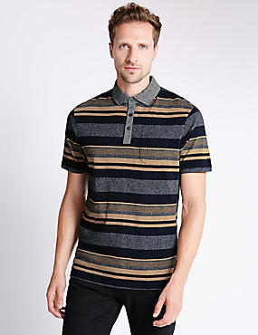 Cotton Rich Stripped Polo Shirt, CAMEL MIX, catlanding