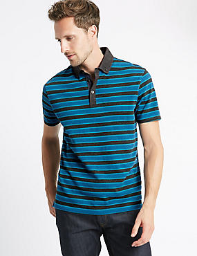 Pure Cotton Striped Regular Fit Polo Shirt , GREY MIX, catlanding