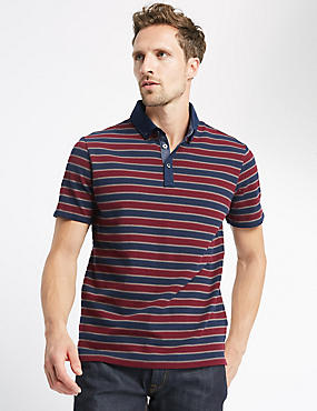 Pure Cotton Striped Regular Fit Polo Shirt , CHOCOLATE MIX, catlanding