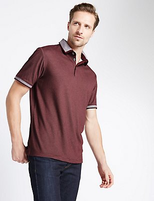 Tailored Fit Striped Polo Shirt, BURGUNDY, catlanding