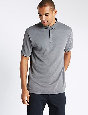 Textured Polo Shirt, NAVY MIX, catlanding