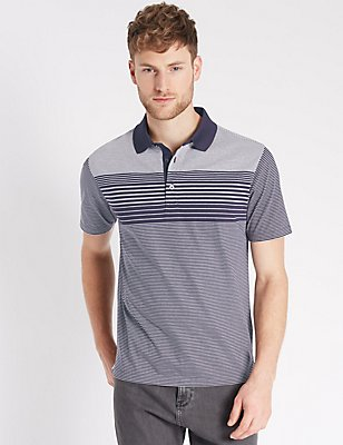 Pure Cotton Striped Polo Shirt, BLUE MIX, catlanding