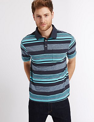 Regular Fit Striped Polo Shirt, NAVY MIX, catlanding