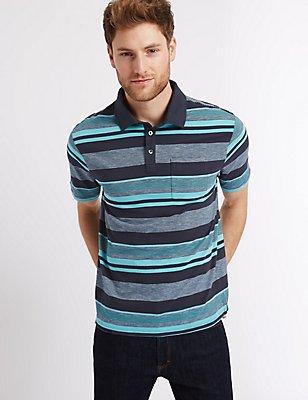 Regular Fit Striped Polo Shirt, NAVY MIX, catlanding
