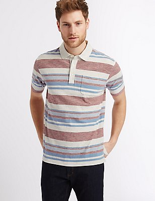 Big & Tall Pure Cotton Striped Polo Shirt, ECRU MIX, catlanding