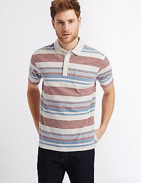 Big & Tall Pure Cotton Striped Polo Shirt, ECRU MIX, catlanding