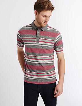 Big & Tall Pure Cotton Striped Polo Shirt, GREY MIX, catlanding