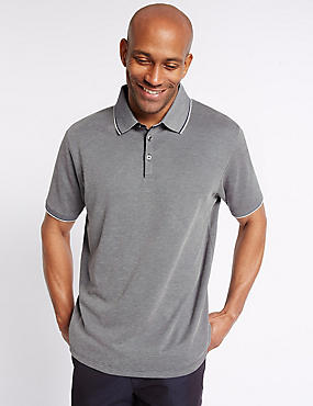 Modal Rich Textured Polo Shirt, NAVY, catlanding