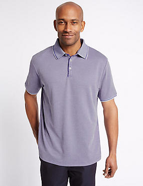 Modal Rich Textured Polo Shirt, VIOLET, catlanding