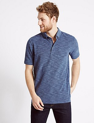 Pure Cotton Textured Polo Shirt, INDIGO MIX, catlanding