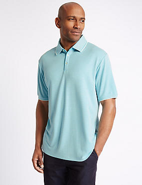 Modal Rich Striped Polo Shirt, MINT, catlanding