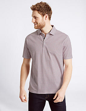 Pure Cotton Checked Polo Shirt, RED MIX, catlanding