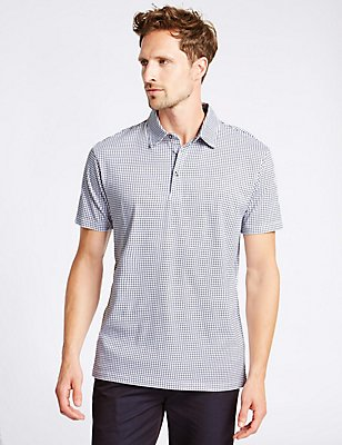 Big & Tall Pure Cotton Checked Polo Shirt , WHITE MIX, catlanding