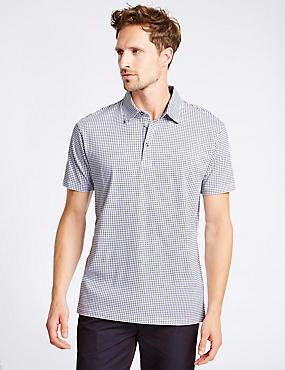 Big & Tall Pure Cotton Checked Polo Shirt , WHITE MIX, catlanding