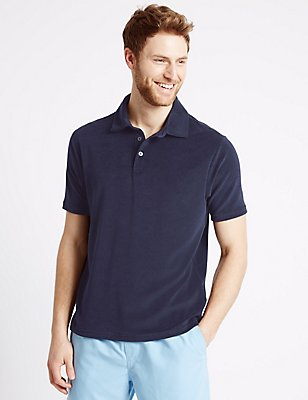 Cotton Rich Towelling Polo Shirt, NAVY, catlanding