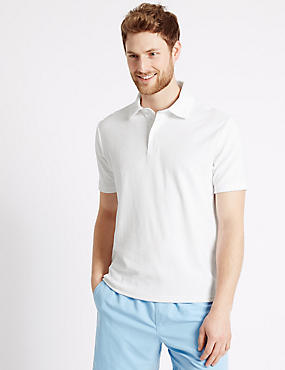 Cotton Rich Towelling Polo Shirt, WHITE, catlanding