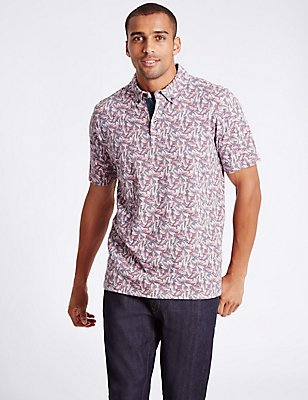 Pure Cotton Printed Polo Shirt, CORAL MIX, catlanding