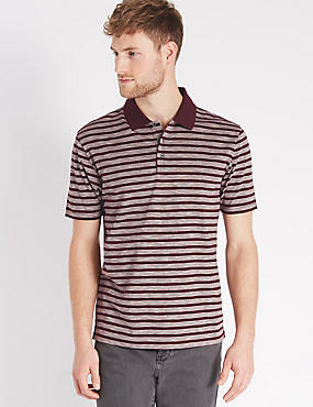 Pure Cotton Striped Polo Shirt, BURGUNDY MIX, catlanding