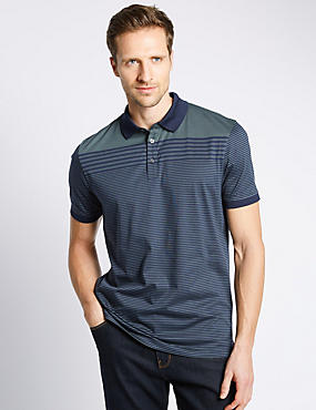 Pure Cotton Tailored Fit Mercerised Striped Polo Shirt