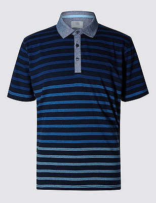 Pure Cotton Slim Fit Striped Polo Shirt, NAVY MIX, catlanding