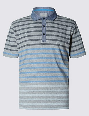 Pure Cotton Slim Fit Striped Polo Shirt, GREY MIX, catlanding