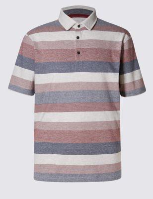 Слегка приталенная рубашка-поло из чистого хлопка в полоску
