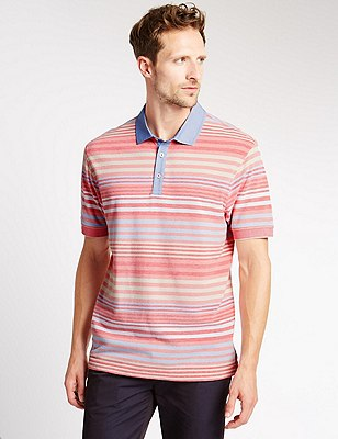 Pure Cotton Striped Polo Shirt, CORAL MIX, catlanding