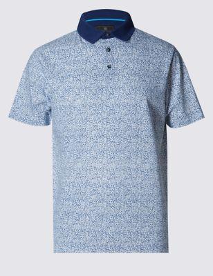 Рубашка-поло с мелким растительным принтом и контрастным воротничком
