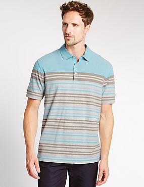 Pure Cotton Engineered Stripe Polo Shirt, NEUTRAL, catlanding