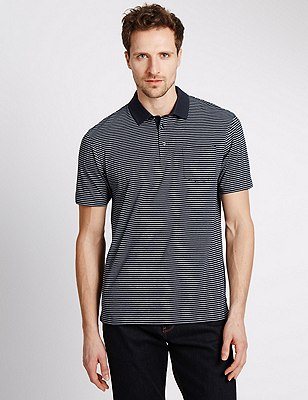 Pure Cotton Tailored Fit Striped Polo Shirt, NAVY, catlanding