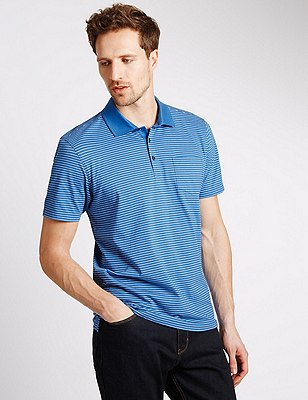Pure Cotton Tailored Fit Striped Polo Shirt, AZURE BLUE, catlanding