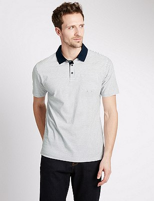 Pure Cotton Tailored Fit Striped Polo Shirt, WHITE, catlanding