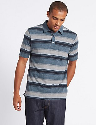 Pure Cotton Striped Polo Shirt, DENIM MIX, catlanding