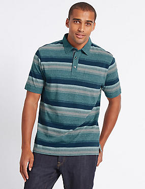 Pure Cotton Striped Polo Shirt, LIGHT TEAL, catlanding