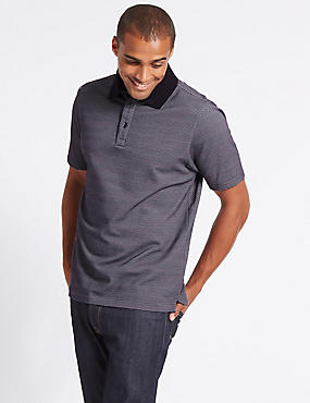 Cotton Rich Textured Polo Shirt, AUBERGINE, catlanding