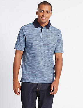 Cotton Rich Textured Polo Shirt, NAVY MIX, catlanding