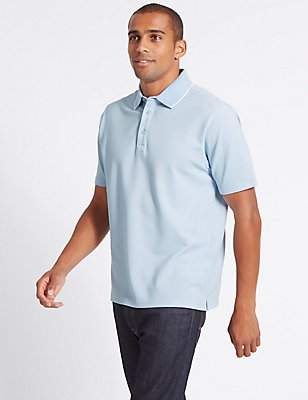 Cotton Rich Textured Polo Shirt, SLATE BLUE, catlanding