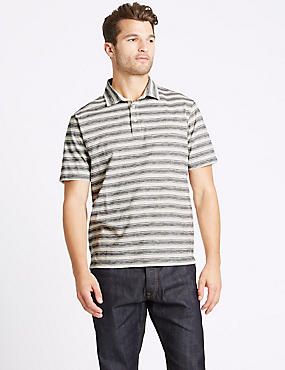 Pure Cotton Striped Polo Shirt, ECRU, catlanding