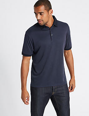 Modal Rich Textured Polo Shirts, NAVY MIX, catlanding