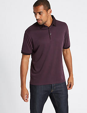 Modal Rich Textured Polo Shirts, AUBERGINE MIX, catlanding